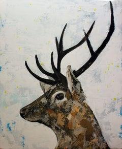 Irish Stag, Painting, Acrylic on Canvas
