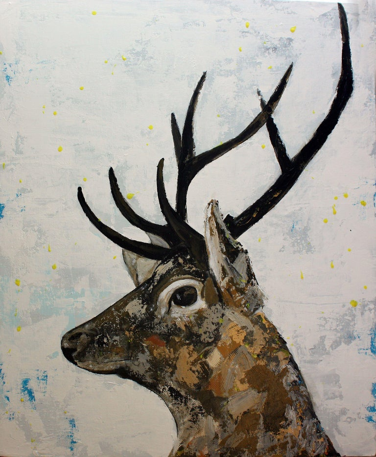 Irish Stag, inspired by the wildlife in The Phoenix Park Dublin where I run, we see these beautiful creatures regularly. The have a magical quality to them     :: Painting :: Contemporary :: This piece comes with an official certificate of