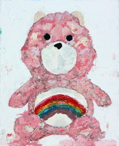 Vintage Care Bear Pink, Painting, Oil on Canvas