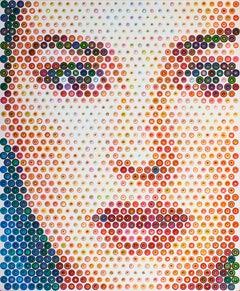 Monica - 21st Century, Contemporary, Figurative Painting, Portrait, Dots