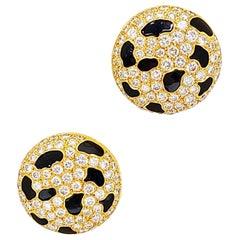 Gay Freres 18KT. Yellow Gold, 4.64 Carat Diamond & Black Enamel Button Earrings