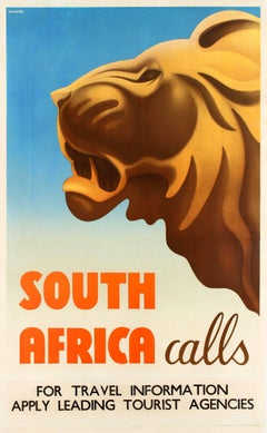 Original Vintage Art Deco Style Travel Poster Feat. A Lion - South Africa Calls