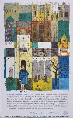 London Transport Original Poster Westminster Abbey, UK. Gaynor Chapman, 1966