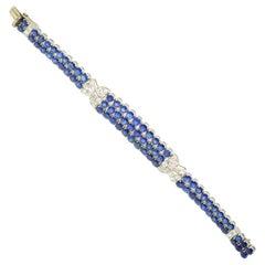 Gazdar Natural Sapphire and Diamond Platinum Bracelet