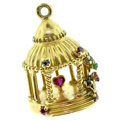 Gazebo Heart Charm Surrounded by Multi-Color Sapphires Pendant