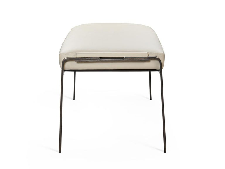 Modern Gazelle Bench in AP Tipper Leather with Black Metal Steel legs For Sale