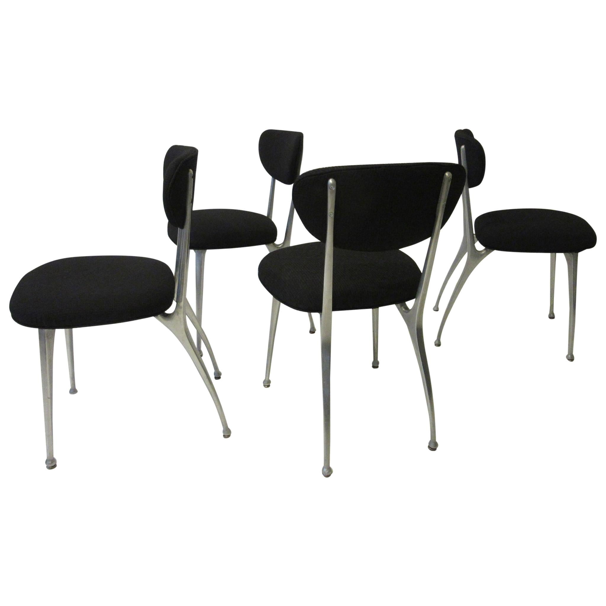 Gazelle Cast Aluminium Upholstered Dining Chairs by Shelby Williams