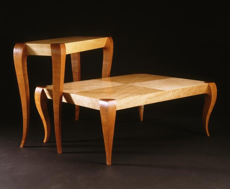 Gazelle Desk-Custom Handcrafted Contemporary Desk with Scalloped Edge Profile For Sale 3