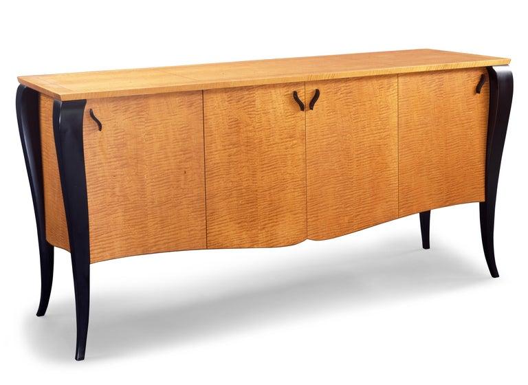 Art Deco Gazelle Desk-Custom Handcrafted Contemporary Desk with Scalloped Edge Profile For Sale