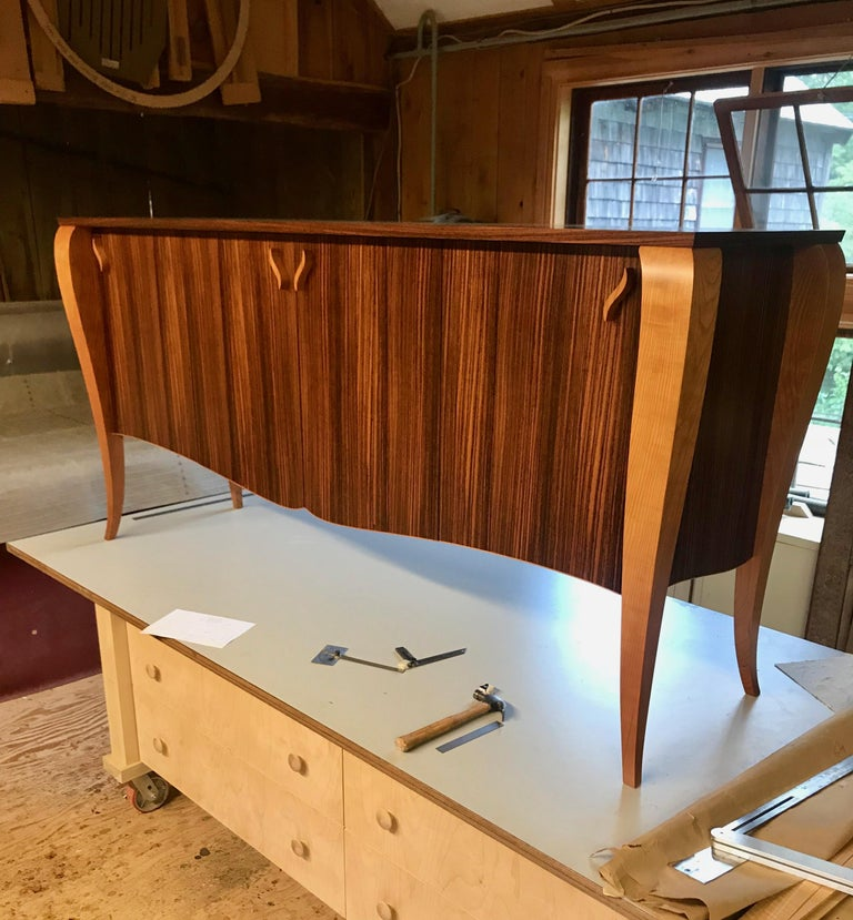 Hand-Crafted Gazelle Desk-Custom Handcrafted Contemporary Desk with Scalloped Edge Profile For Sale