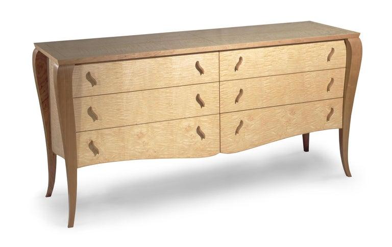 Gazelle Desk-Custom Handcrafted Contemporary Desk with Scalloped Edge Profile For Sale 1