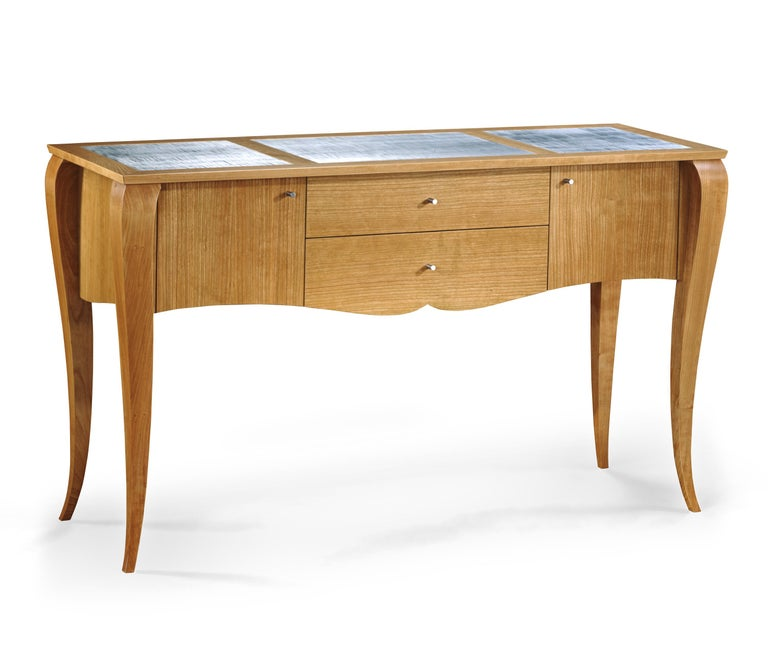 Gazelle Desk-Custom Handcrafted Contemporary Desk with Scalloped Edge Profile For Sale 2