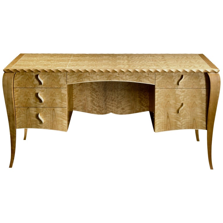 Gazelle Desk-Custom Handcrafted Contemporary Desk with Scalloped Edge Profile For Sale