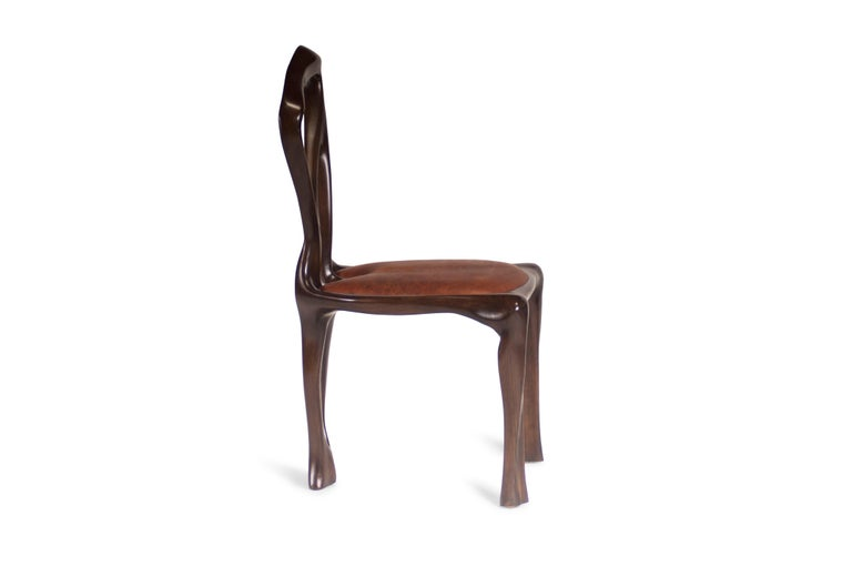 Modern Amorph Gazelle Dining Chair, Solid Wood, Stained Graphite Walnut For Sale