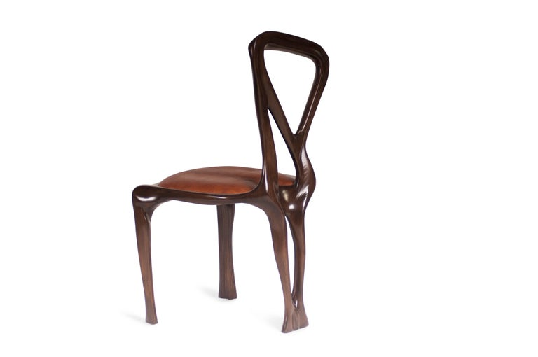 Amorph Gazelle Dining Chair, Solid Wood, Stained Graphite Walnut, For Sale 3