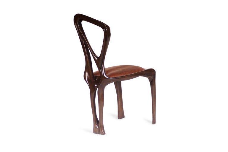 Amorph Gazelle Dining Chair, Solid Wood, Stained Graphite Walnut, For Sale 4