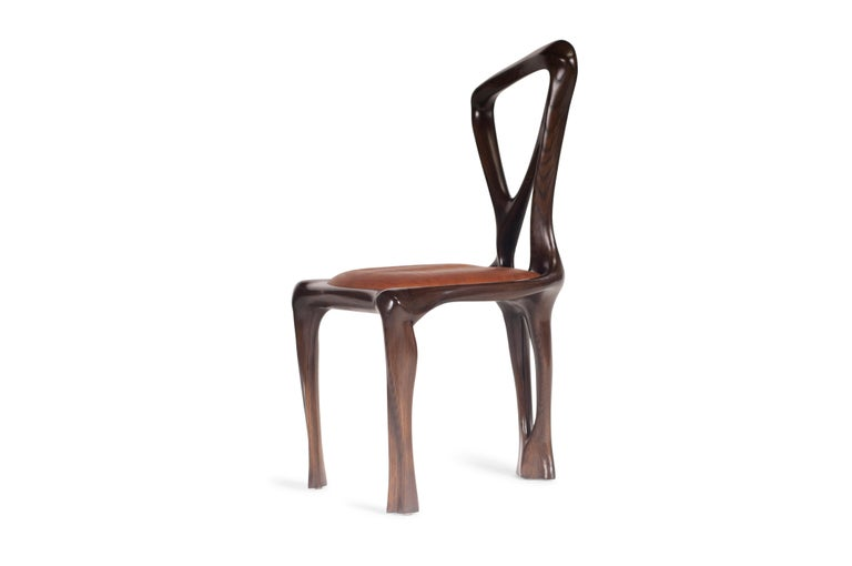 Leather Amorph Gazelle Dining Chair, Solid Wood, Stained Graphite Walnut For Sale