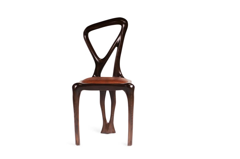 Amorph Gazelle Dining Chair, Solid Wood, Stained Graphite Walnut, For Sale 8