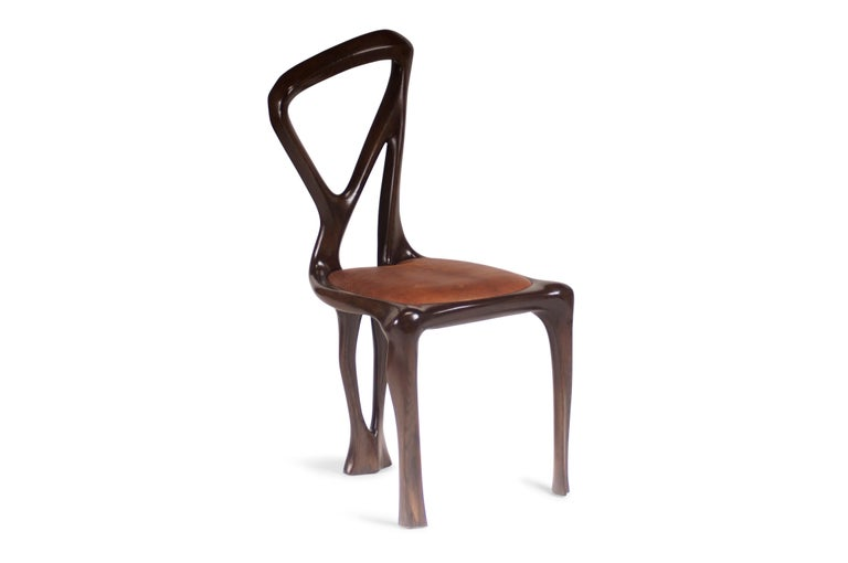Amorph Gazelle Dining Chair, Solid Wood, Stained Graphite Walnut, For Sale 1