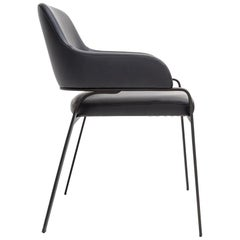 Gazelle Dining Chair with Arms, Contemporary Jet Black Metal Base, Grey Leather