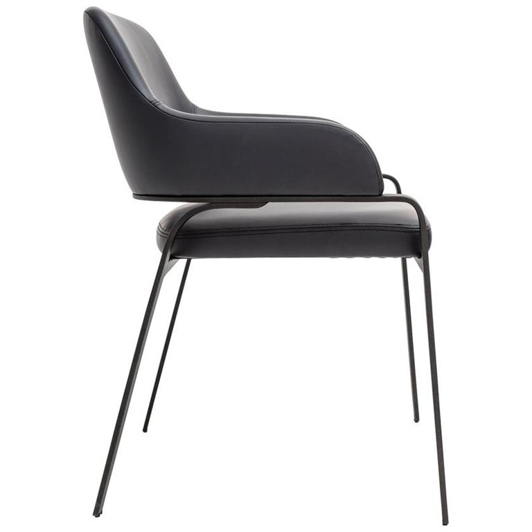 Gazelle Dining Chair With Arms, Contemporary Jet Black