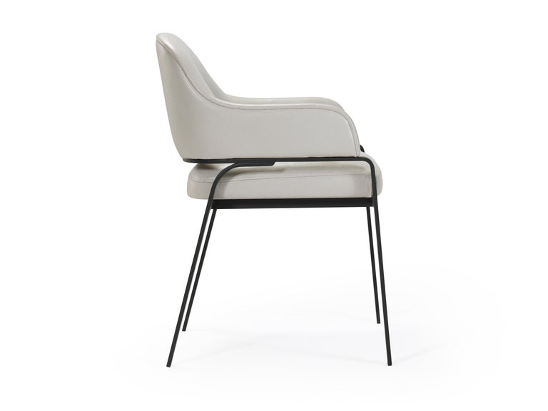 American Gazelle Modern Dining Chair in AP Tipper Leather with Black Metal Steel Legs For Sale