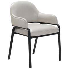 Gazelle Modern Dining Chair in AP Tipper Leather with Black Metal Steel Legs