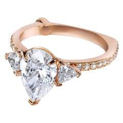 GCAL Certified 18 Karat Rose Gold and 2.59 Carat Diamond Iris Ring by Alessa