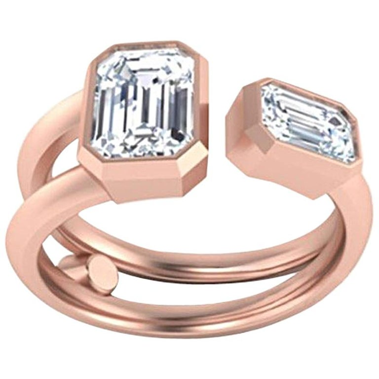 GCAL Certified 18K Rose Gold & 0.76 ctw Diamond You & Me in the Clouds by Alessa For Sale