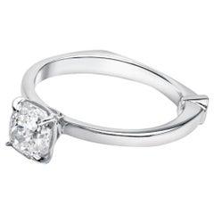 GCAL Certified 18 Karat White Gold and 1.02 Carat Diamond Bía Ring by Alessa