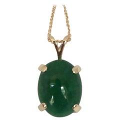 GCI Certified 6.90 Carat Fine Green Jadeite Jade Untreated Cabochon Pendant