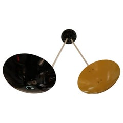 G.C.M.E., Yellow and Black Lacquered Metal Midcentury Italian Ceiling Lamp, 1960
