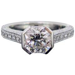 GCS 1.54 Carat Flanders Cut Diamond Solitaire Platinum Wedding Engagement Ring
