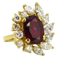 GCS 3.5 Carat Ruby and Diamonds Yellow Gold Engagement Cluster Ring
