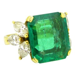 GCS 7.4 Carat Colombian Minor Emerald and Marquise Cut Diamonds Yellow Gold Ring