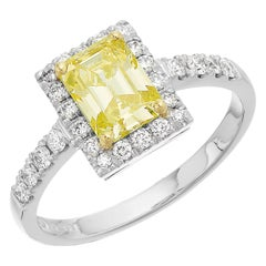 GCS Certified 1.05 ct Fancy Intense Yellow Diamond, Emerald Cut Ring in Platinum