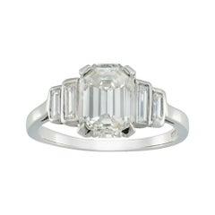 GCS Certified 1.64 Carat Emerald-cut Diamond Ring
