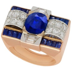 GCS Certified 3.72 carat Sapphire and Diamond Rose Gold Dress Ring