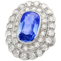 GCS Certified 6.25 Carat Ceylon Sapphire and 3.75 Carat Diamond Dress Ring
