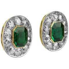 GCS Certified Colombia Emerald 2.60 Carat and Diamonds Cluster Earrings, Retro