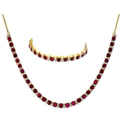 GCS Certified Natural Burmese/Myanmar Ruby & Diamond Necklace & Bracelet, Retro