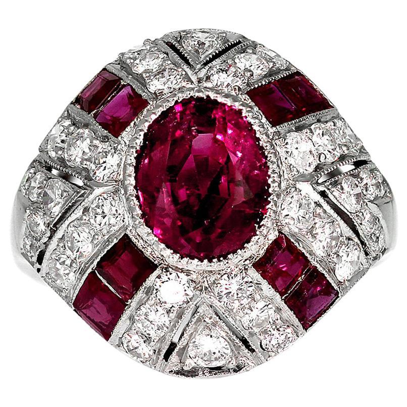 GCS Certified Natural Myanmar/ Burmese Ruby 2.3 ct & Diamond Ring, Vintage 1950s