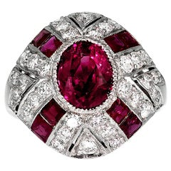 GCS Certified Natural Myanmar/ Burmese Ruby 2.3 ct and Diamond Ring, Retro 1950s