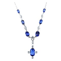 GCS Certified Natural Sri Lanka Sapphire and Diamond Antique Necklace/Headpiece