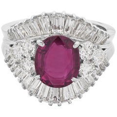 Certified Natural Unheated Ruby 2.1 Ct & Diamond Cocktail/Cluser Ring in 18K