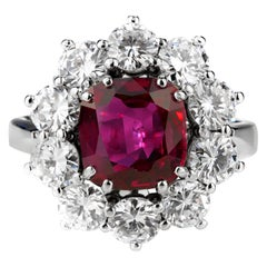 GCS Certified Ruby, Natural Unheated Cushion Cut with Diamonds Cluster Ring
