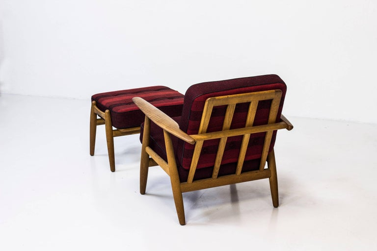 Easy chair with matching ottoman designed by Hans J. Wegner model