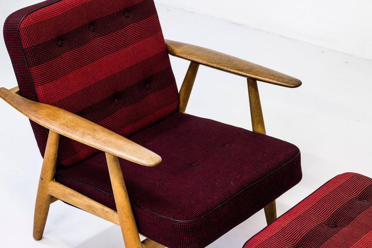 Wool GE-240 Easy Chair and Ottoman by Hans J. Wegner For Sale