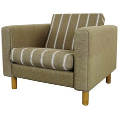 GE-300 Easy Chair in Green/Striped Fabric by Hans J. Wegner for GETAMA, Denmark