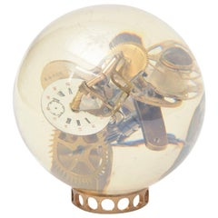 Gear and Clock Parts Embedded Lucite Ball Sculpture Vintage